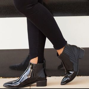 Yommi Marc Fisher Black Patent Leather Booties